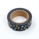 Washi tape – Preto com bolinhas brancas, azuis e douradas1