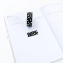 Washi tape – Preto com bolinhas brancas, azuis e douradas3