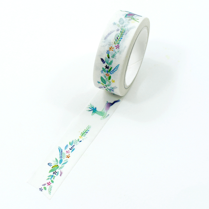 washi tape - flores coloridas e alce