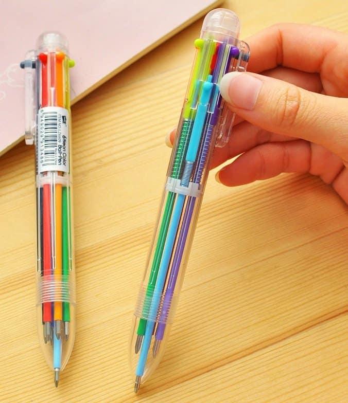 Papelaria nostálgica canetas multicoloridas