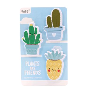 Kit-3-blocos-auto-adesivo---Plants-are-friends---Azul