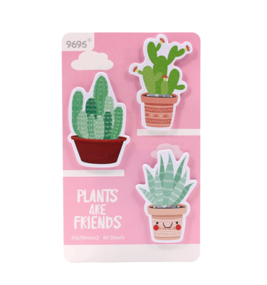 Kit-3-blocos-auto-adesivo---Plants-are-friends---Rosa