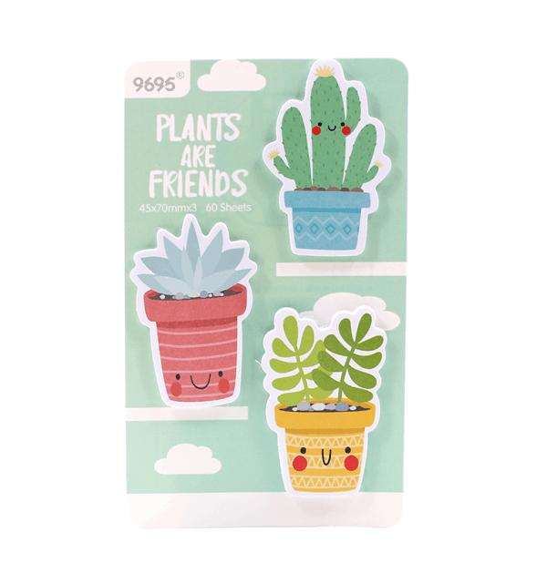 Kit-3-blocos-auto-adesivo---Plants-are-friends---Verde