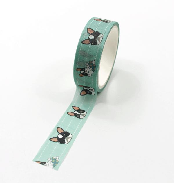 Washi-tape-–-Celebrity-Dog---Verde---Buldog-Francês-faces3
