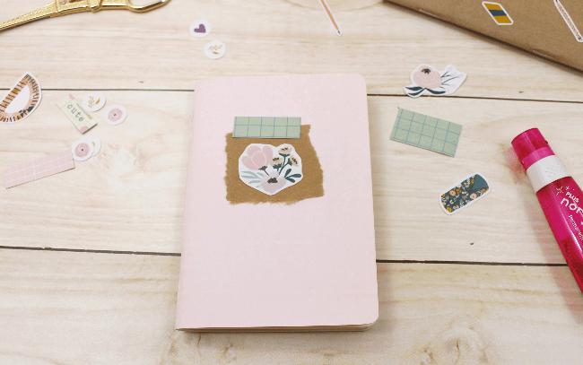 3 Ideias para decorar a capa dos mini blocos para planner com adesivos da A. Craft rosa floral
