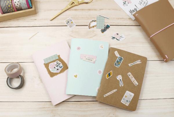 3 Ideias para decorar a capa dos mini blocos para planner com adesivos da A. Craft diy