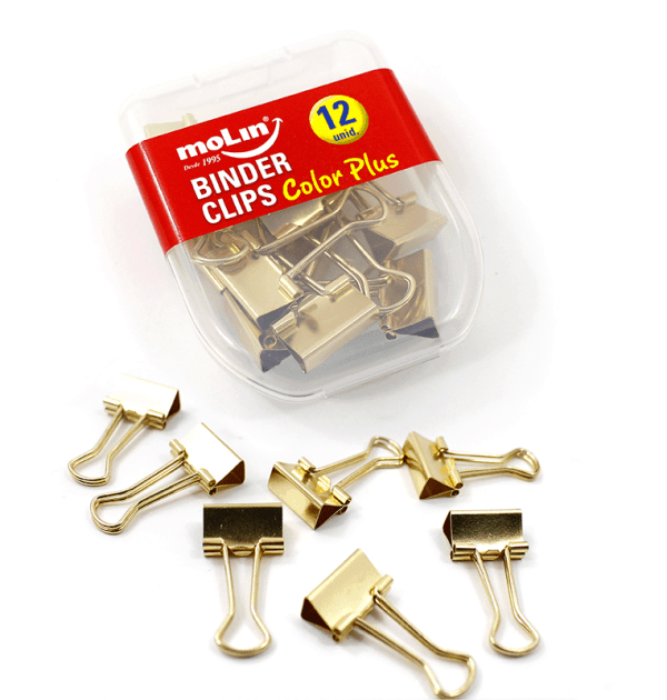 Binder-clips-ouro---Pequeno
