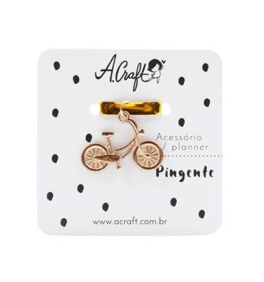 Acessório para planner A.Craft – Pingente dourado – Bicicleta