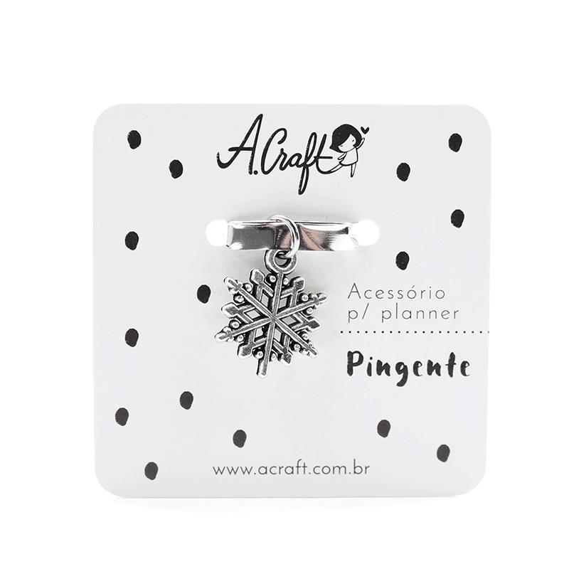 Acessório para planner A.Craft – Pingente prata – Floco de neve