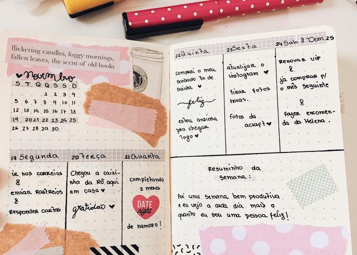Inspirações de layouts para bullet journal planner