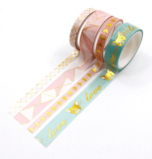 Kit-4-Washi-tapes-foil---Dog-and-love