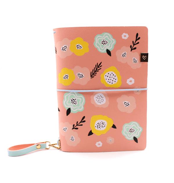 Planner A.Craft – Capa Peach - Estampa primavera (para 4 blocos)
