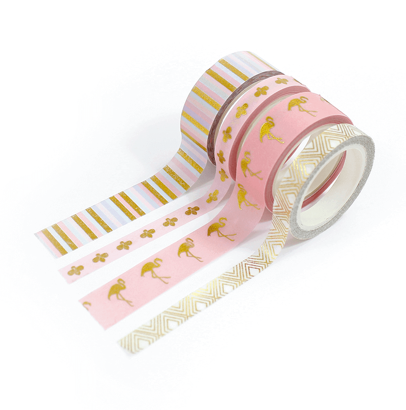 Kit 4 Washi tapes - Flamingo Chic